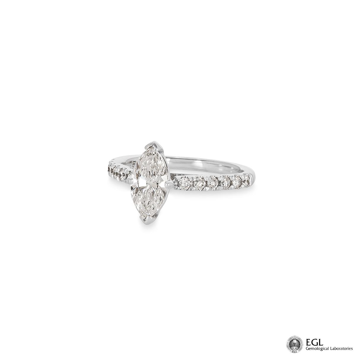 18k White Gold Marquise Cut Diamond Ring 1.01ct G/SI2